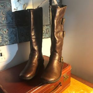 box Leather tall riding boots